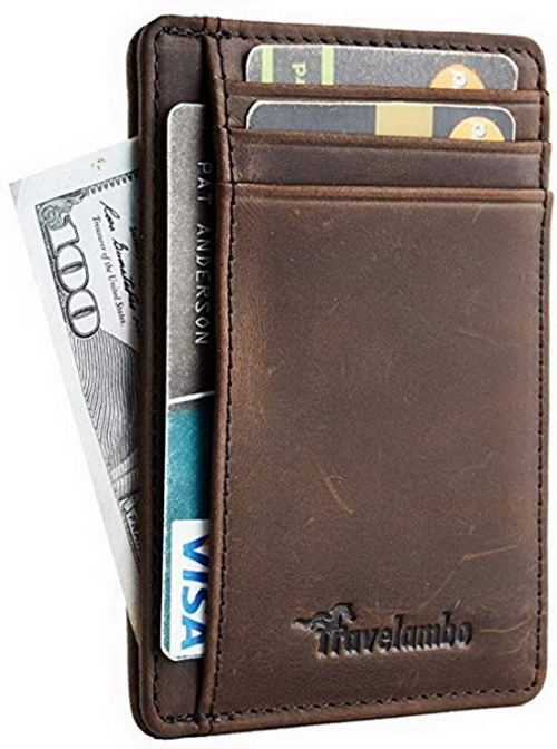 Travelambo Front Pocket Minimalist Leather Slim Wallet RFID Blocking