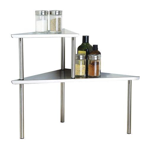 Cook N Home 2-Tier Stainless Steel Corner Storage Shelf Organizer