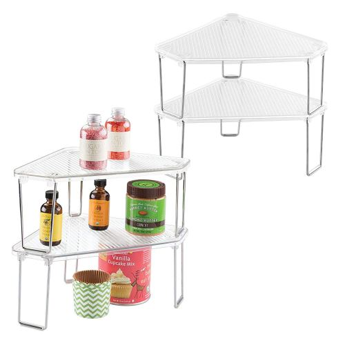 mDesign Corner Plastic/Metal Freestanding Stackable Organizer Shelf