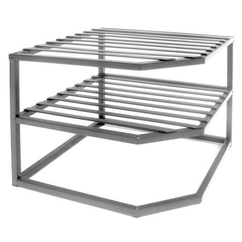 Seville Classics 2-Tier Corner Shelf Counter and Cabinet Organizer