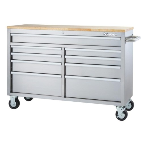 Husky 52 in. 9-Drawer Rolling Workbench Stainless Steel