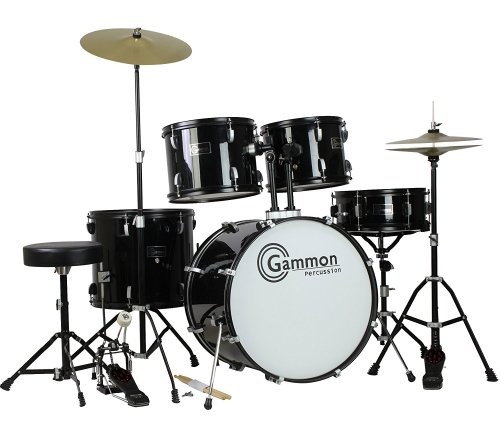 Gammon Percussion Full Size Complete Adult 5 Piece Drum Set