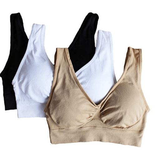 Cabales Women's 3-Pack Seamless Wireless Sports Bra