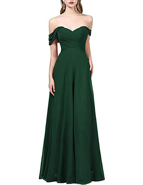 OYISHA Womens Off The Shoulder Chiffon Bridesmaid