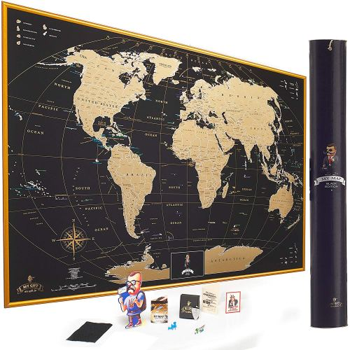 MyMap Gold Scratch Off World Map Wall Poster