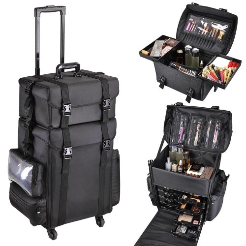 AW 2in1 Black Soft Sided Rolling Makeup Case