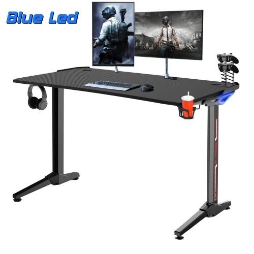 """Vitesse 55"""" Super Larger Gaming Desk Racing Style Computer Table with Free Mouse pad, T-Shaped Professional Gamer Workstation PC Desk with Cup Holder & Headphone Hook"""