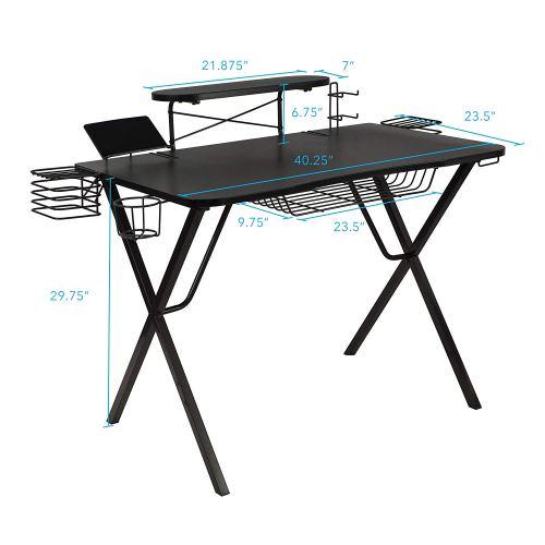 """Atlantic Gaming Original Gaming-Desk Pro - Curved-Front, 10 Games, Controller, Headphone & Speaker Storage, 41""""x23.5"""" Curved Front Desktop, Enhanced larger Design"""