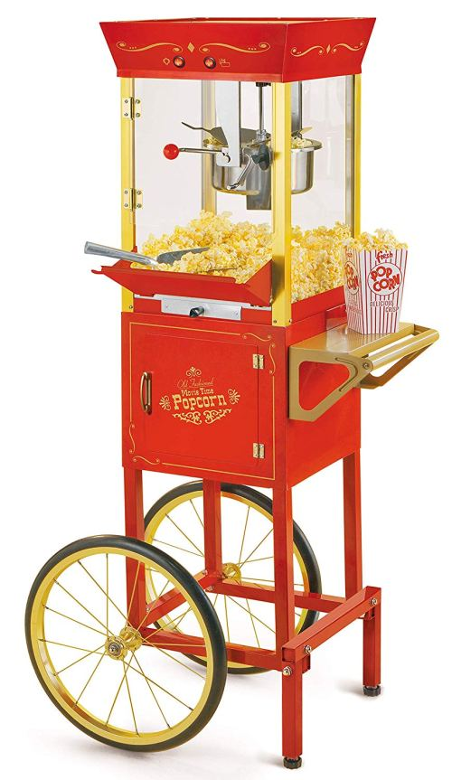 Nostalgia CCP510 Vintage Professional Popcorn Cart-New 8-Ounce Kettle-53 Inches Tall-Red
