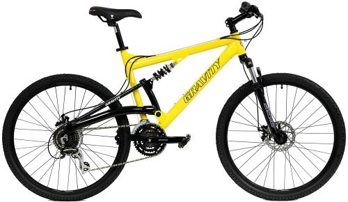 2018 Gravity FSX 1.0 Dual Full Suspension Mountain Bike with Disc Brakes, Shimano Shifting, Aluminum Frame