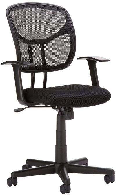 AmazonBasics Classic Mid-Back Mesh Swivel Office Desk Chair with Armrest – Black