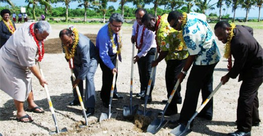 Turning the soil to commence the new Taumeasina Resort. Credit: Samoa Observer