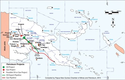 Papua New Guinea's Petroleum Projects. Click on map to enlarge. (Credit: PNG Chamber of Mines and Petroleum