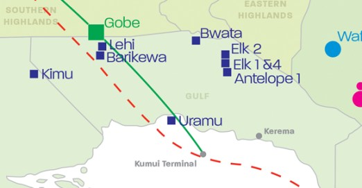 Gulf Province, showing potential gas projects, including InterOil's Elk and Antelope fields