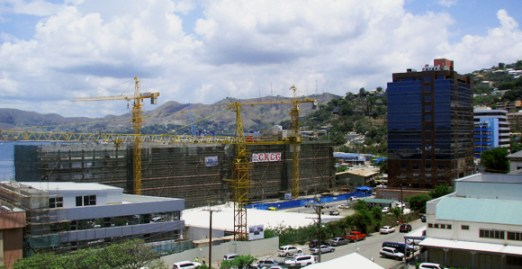Port Moresby Town, with Steamships' harbourside development under construction.