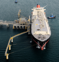 The Spirit of Hela being loaded with the first LNG shipment. Credit: Exxon Mobil PNG Ltd