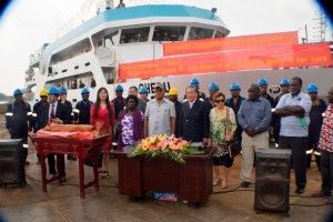 Launching of the MV Chebu, with ABG President, John Momis and Sir Henry Chow. Credit: New Dawn