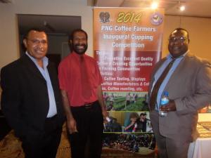 PNG coffee scientists Tom Kukhang, Dr Mark Kenny, and Dr Nelson Simbiken. Credit: Malum Nalu.