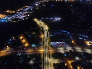 Night vision of the new Kumul Flyover. Credit: Skerah/Hawkins