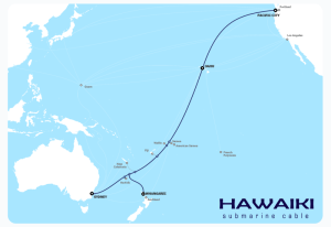 Route of the planned Hawaiki cable.
