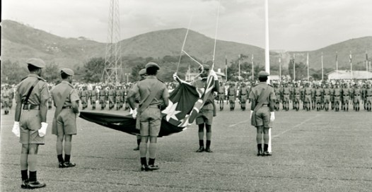The Australian flag lowered in 1975