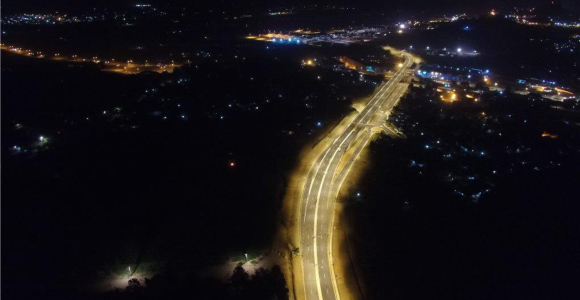 The Kumul Flyover at night. Credit: Hawkins Group