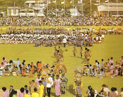 Big crowds at Port Moresby's Sir Hubert Murray Stadium in 1975.