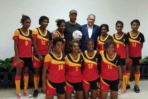 PNG's under-20 women's soccer team and sports minister Justin Tkatchenko in Mount Hagen. Credit: Facebook/Justin Tkatchenko