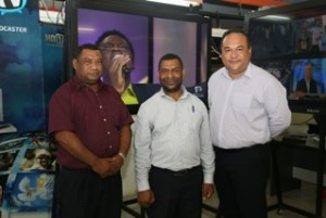 NBC Acting Managing Director Kora Nou, Chairman NBC Timothy Tala, and Click TV's Richard Broadbridge.
