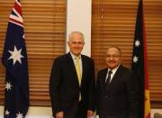 PNG PM Peter O'Neill with Australian PM, Malcolm Turnbull.