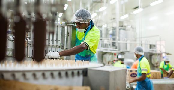 Manufacturing Gala ice cream at Steamships subsidiary, Laga Industries Credit: Steamships