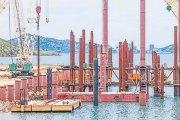 Motukea Wharf pile driving. Credit: The National
