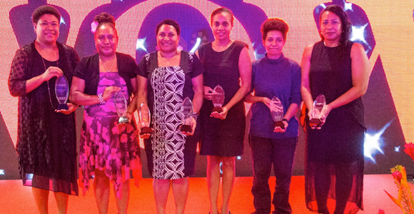 Westpac's awards (left to right): Karo Lelai – Winner of the PWC Private Sector Award; Mollina Mercy Kapal – Winner of the Precinct Public Sector Award; Ruth Kissam – Winner of the Trukai Community Award and overall WOW winner; Priscilla Kevin – Winner of the Steamships Not For Profit Award; Crystel Kewe – Winner of the IBBM Young Achievers Award; Cybel Druma – Winner of the Moore Printing Sports Award. Source: Westpac