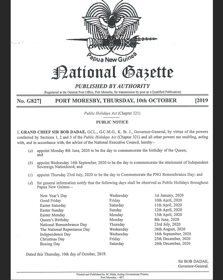 Christmas Assistance Programs List 2020.Papua New Guinea Public Holidays For 2020 Business