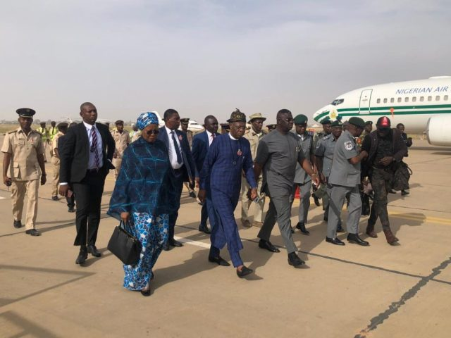 FG's delegation on arrival at Katsina airport on Monday