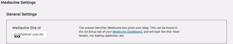 Mediavine WordPress Plugin Control Panel