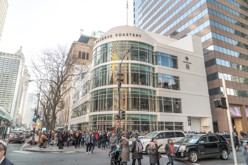 The new Starbucks Reserve Roastery on Chicago's Magnificent Mile is a former Crate & Barrel store that was redesigned to be a destination for coffee lovers.