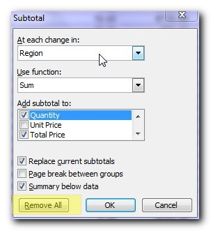 Remove subtotals - Super easy subtotals in a Microsoft Excel database