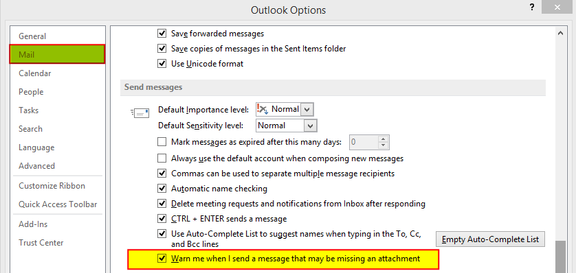 Outlook 2013 Options dialog with the option to Warn me before sending a message which may be missing an attachment