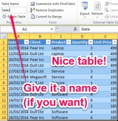 Excel Table: Give your table a name if you want. It makes formulas e.g. VLOOKUP so much easier to read back