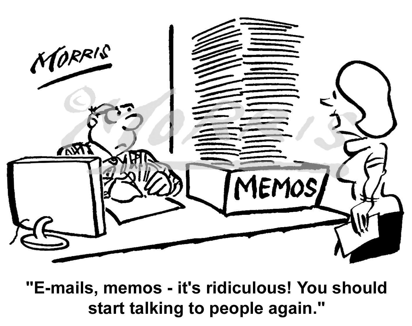 Manager PA (Personal assistant) memos cartoon Ref: 0618bw