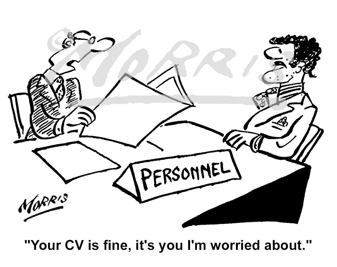Personnel Manager job CV interview cartoon