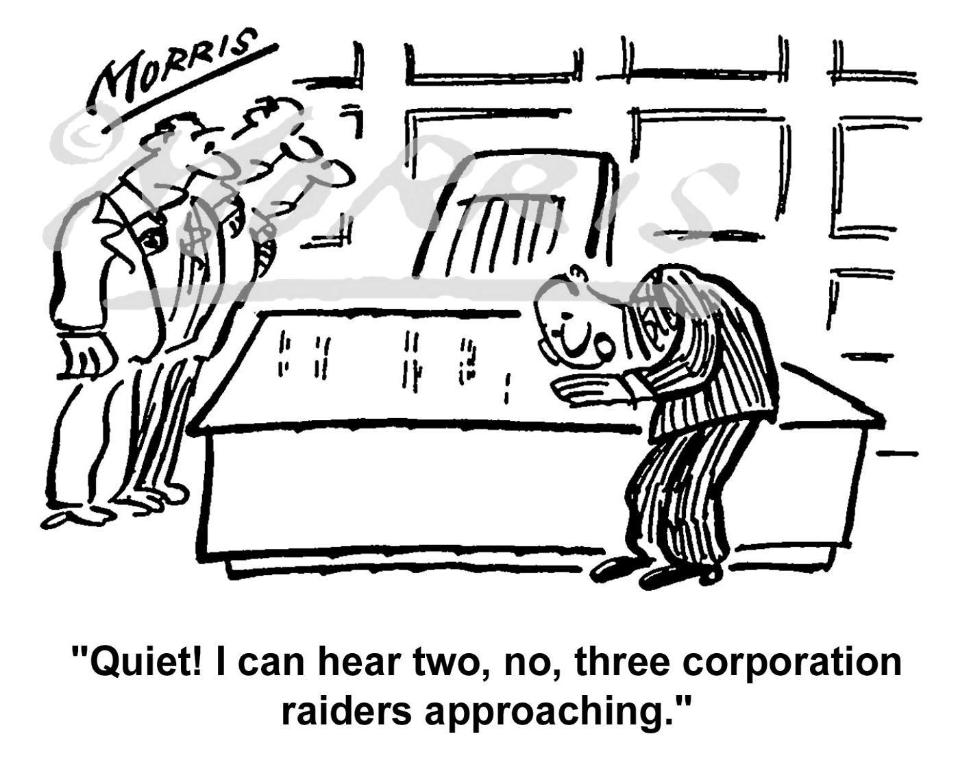 Boardroom corporation raiders cartoon Ref: 0733bw