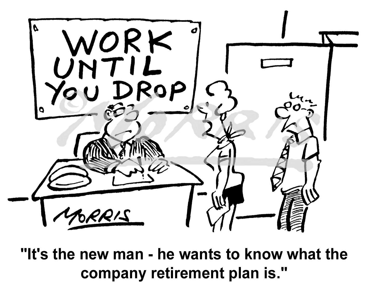 Retirement cartoon, Pension cartoon