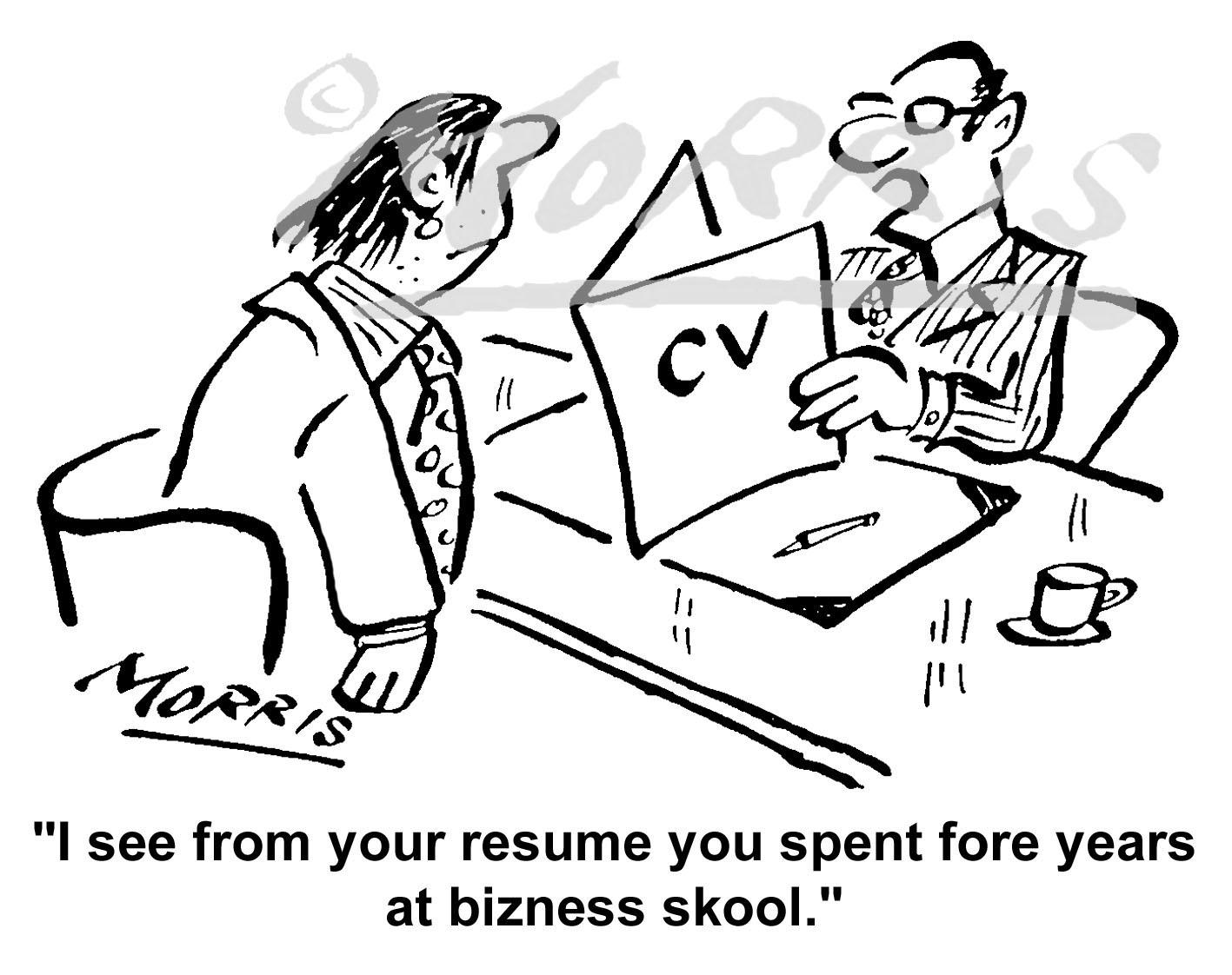 CV cartoon, Resume cartoon, Interview cartoon