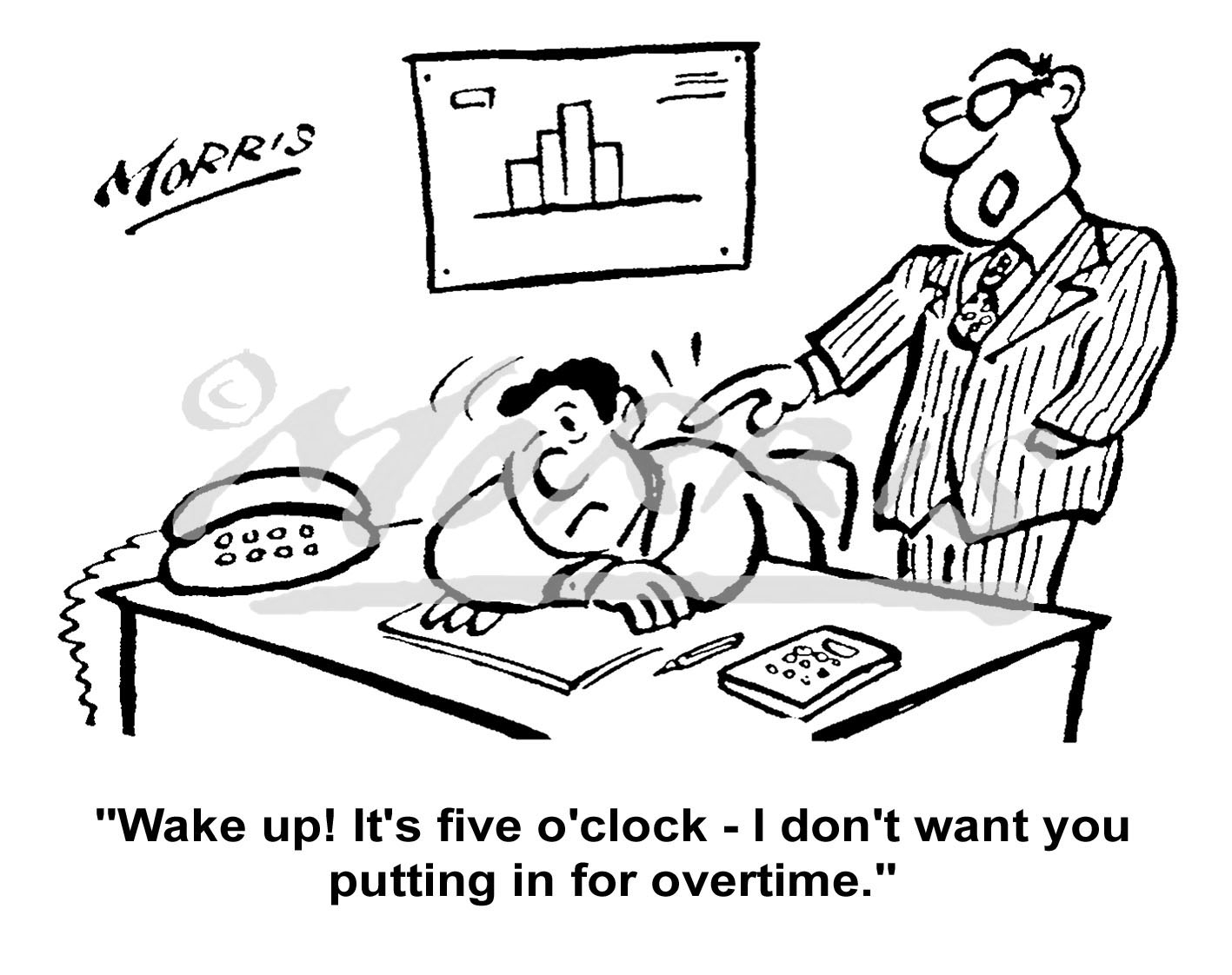 Manager office overtime cartoon