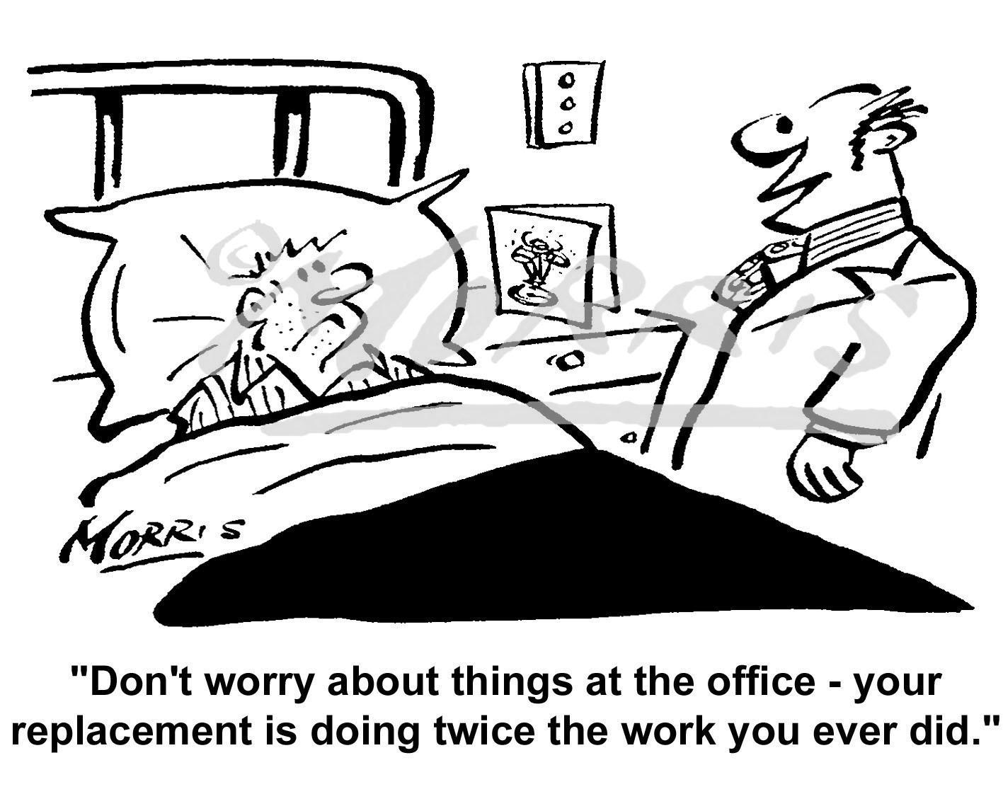 Office worker/staff workload cartoon