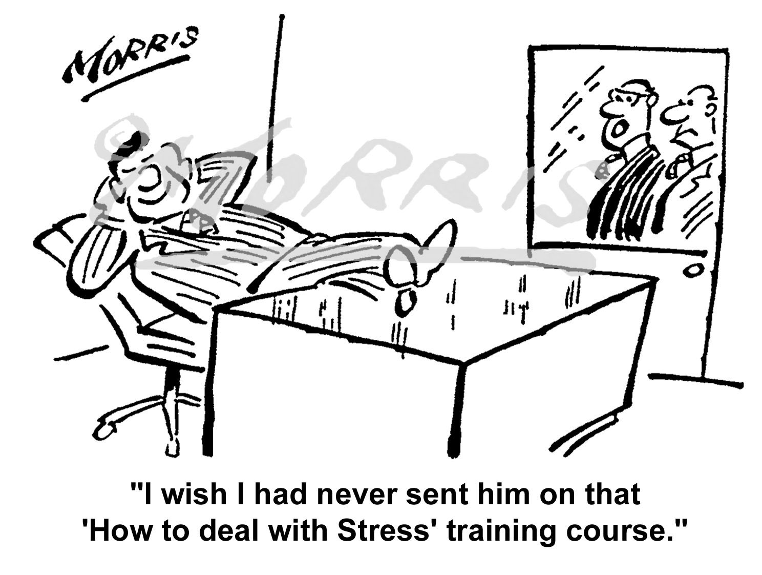 Office stress training course cartoon