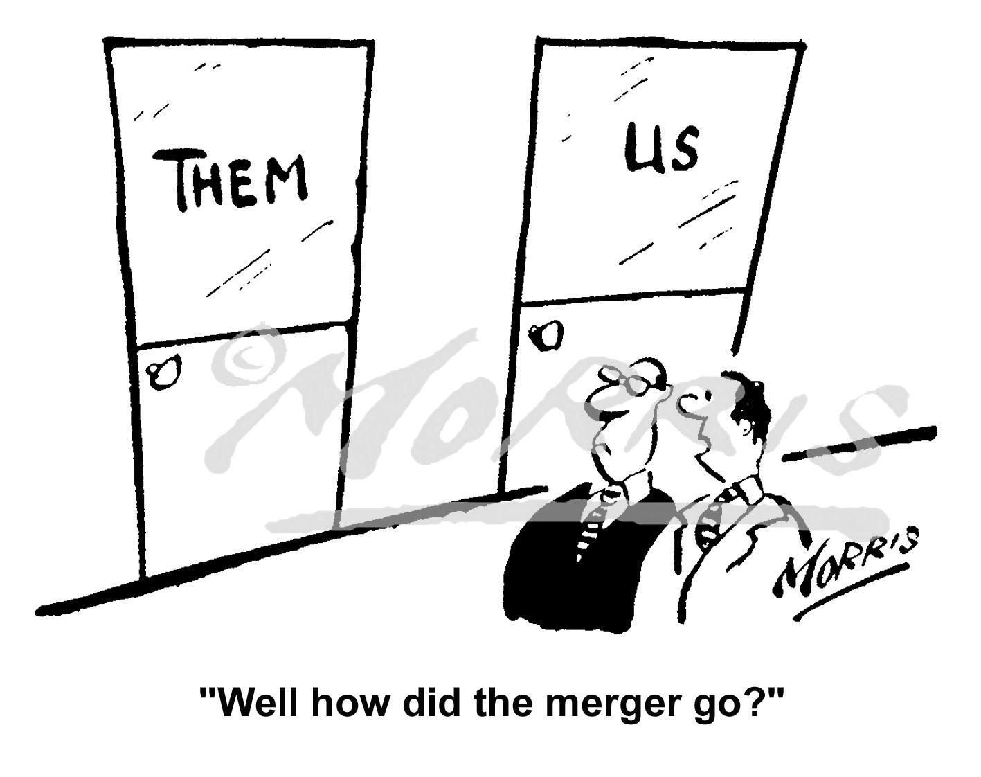 Company merger cartoon