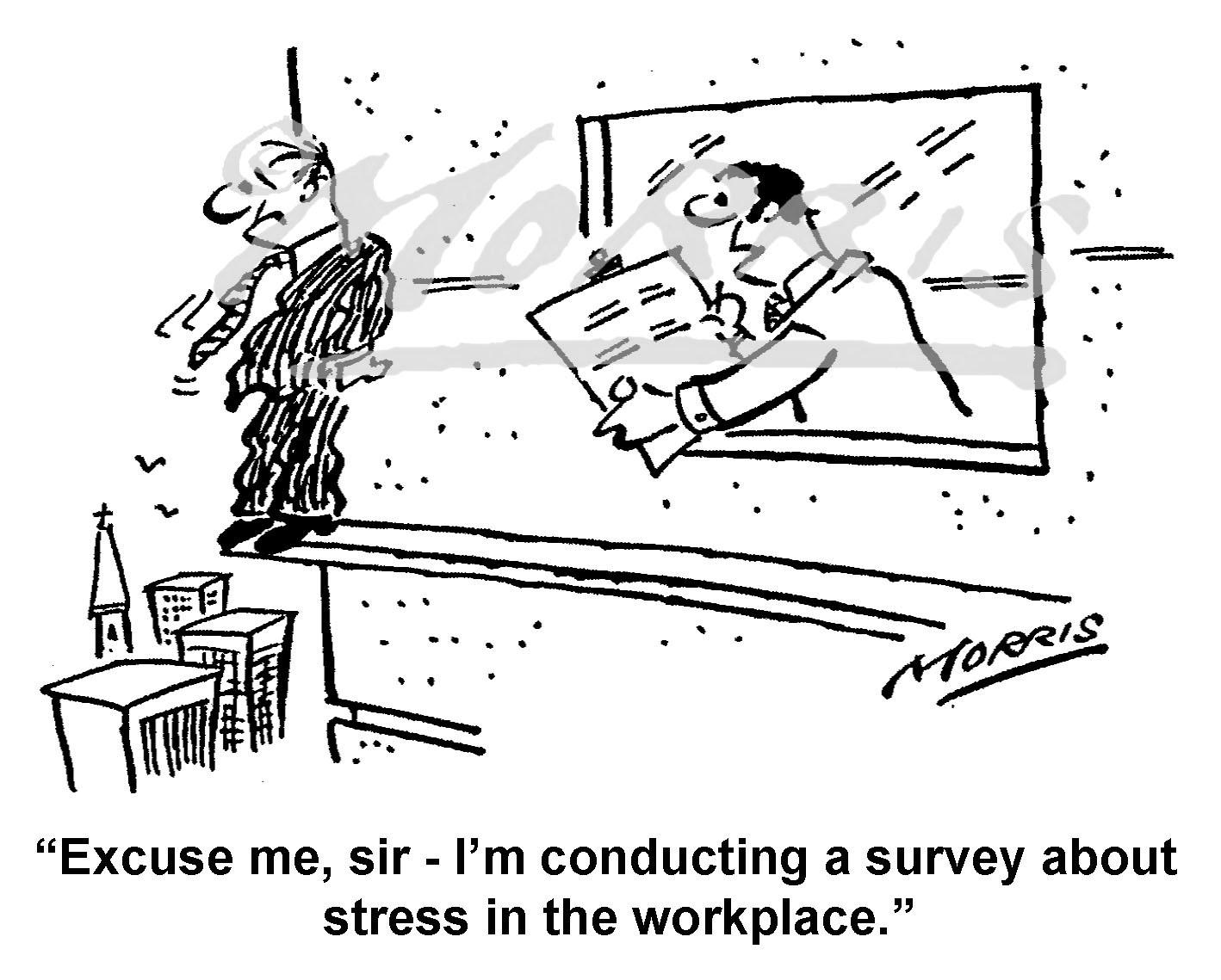 Stress cartoon, Workplace cartoon, Management stress